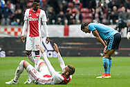 02-10-2016: Voetbal: Ajax v FC Utrecht: Amsterdam<br /> <br /> (L-R) FC Utrecht speler Sofyan Amrabat baalt na afloop van het Eredivsie duel tussen Ajax en FC Utrecht op 2 oktober 2016 in stadion Arena in Amsterdam tijdens speelronde 8<br /> <br /> Eredivisie - Seizoen 2016 / 2017<br /> <br /> Foto: Gertjan Kooij