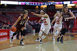 29 January 2017: Kylie Giebelhausen, Katrina Beck, Millie Stevens and Lauren Hartman during an College Missouri Valley Conference Women's Basketball game between Illinois State University Redbirds the Salukis of Southern Illinois at Redbird Arena in Normal Illinois.
