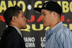 Dec 3, 2009; New York, NY, USA; Juan Manuel Lopez (l) and Steven Luevano (r) pose at the press conference announcing their January 23, 2010 fight at Madison Square Garden.