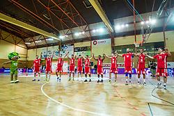 Plyers of KK Tajfun Sentjur after winning supercup basketball match between KK Krka Novo mesto and KK Tajfun Sentjur at Superpokal 2015, on September 26, 2015 in SKofja Loka, Poden Sports hall, Slovenia. Photo by Grega Valancic / Sportida.com