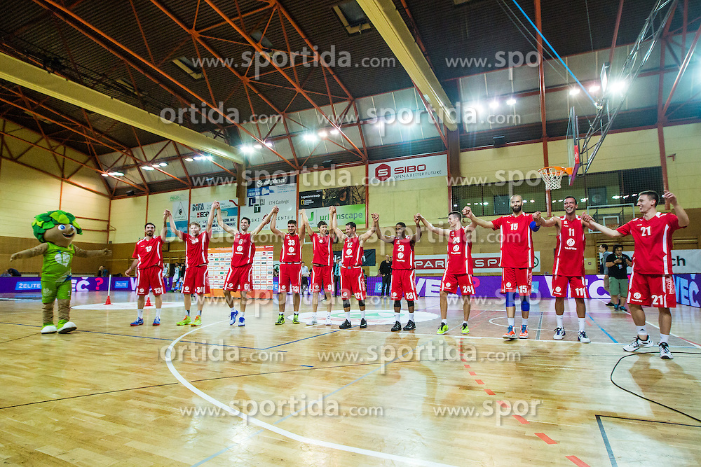Plyers of KK Tajfun Sentjur after winning supercup basketball match between KK Krka Novo mesto and KK Tajfun Sentjur at Superpokal 2015, on September 26, 2015 in SKofja Loka, Poden Sports hall, Slovenia. Photo by Grega Valancic / Sportida.com