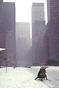 Weather: Snow on Park Avenue, New York City, New York. February 1979.