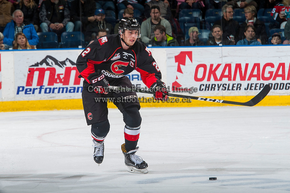 KELOWNA, CANADA - MARCH 1: Sam Ruopp #2 of the Prince George Cougars skates with the puck against the Kelowna Rockets on MARCH 1, 2017 at Prospera Place in Kelowna, British Columbia, Canada.  (Photo by Marissa Baecker/Shoot the Breeze)  *** Local Caption ***