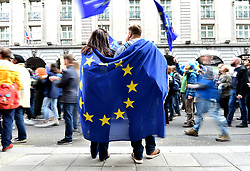 A general view of Anti-Brexit campaigners holding The European Flag as they take part in the People's Vote March in London. Picture credit should read: Matt Crossick/EMPICS