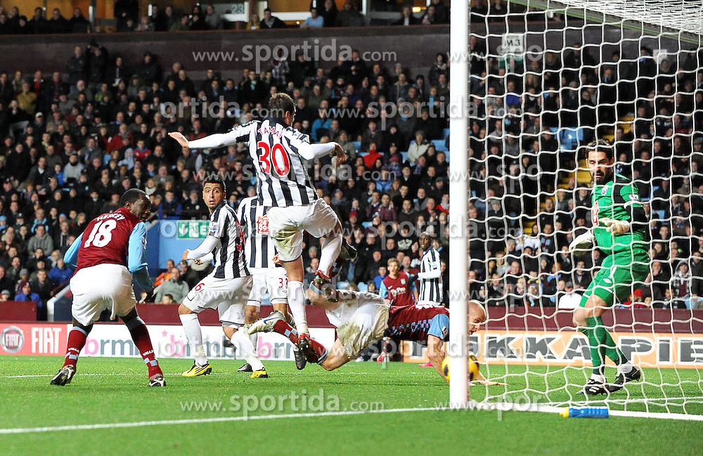 11.12.2010, Villa Park stadium, Birmingham, ENG, PL, Aston Villa vs West Bromwich Albion, im Bild Aston Villa's Emile Heskey  scores his sides second goal Aston Villa vs West Bromwich Albion  in the  Barclays Premier League  at Villa Park stadium in Birmingham on 11/12/2010. EXPA Pictures © 2010, PhotoCredit: EXPA/ IPS/ Rob Noyes +++++ ATTENTION - OUT OF ENGLAND/UK and FRANCE/FR +++++