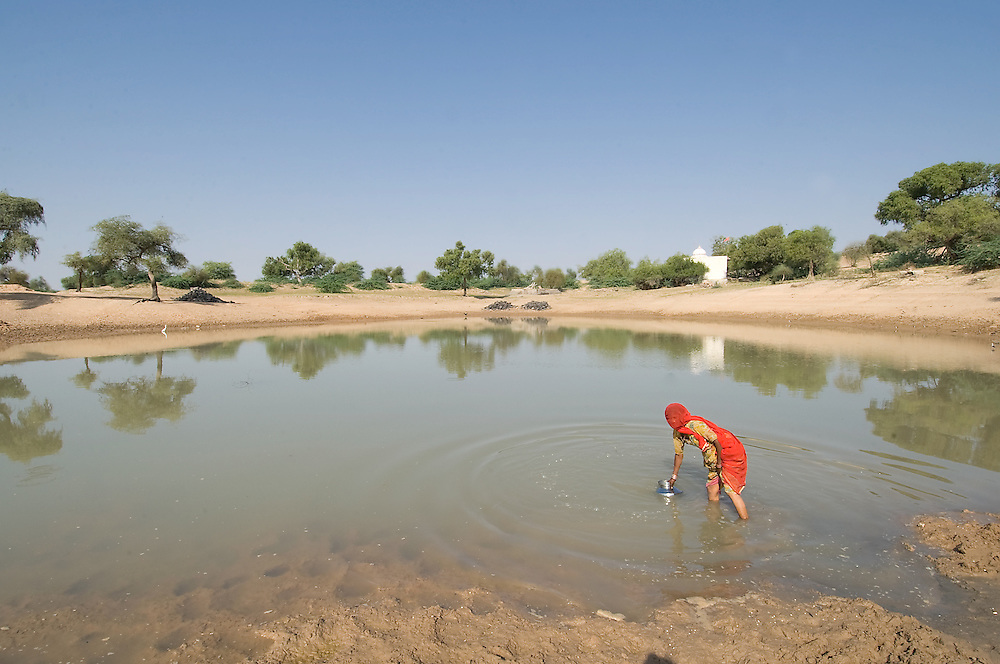 "In the Rajasthan region of India's Thar Desert, the ""panahari"" (women who fetch water) is mainly responsible for fetching water from the village pond or waterwell Jodhpur, India)"