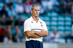 England Head Coach Stuart Lancaster looks on - Mandatory byline: Rogan Thomson/JMP - 07966 386802 - 15/08/2015 - RUGBY UNION - Twickenham Stadium - London, England - England v France - QBE Internationals 2015.