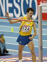 Photo: Rich Eaton.<br /> <br /> EAA European Athletics Indoor Championships, Birmingham 2007. 04/03/2007. Stefan Holm of Sweden celebrates winning gold in the mens high jump