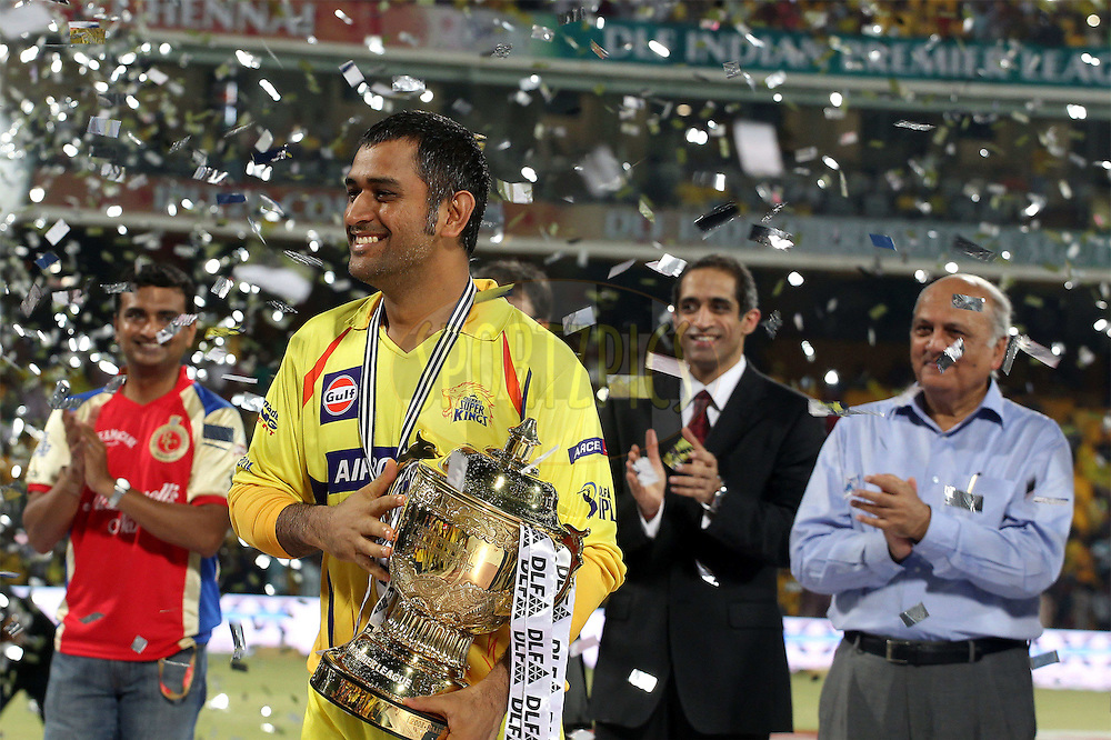 MS Dhoni celebrates  with the trophy during the final of the Indian Premier League ( IPL ) Season 4 between the Chennai Superkings and the Royal Challengers Bangalore held at the MA Chidambaram Stadium in Chennai, Tamil Nadu, India on the 28th April 2011..Photo by Ron Gaunt/BCCI/SPORTZPICS
