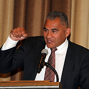 "Eric Rush delighted the official luncheon greeting crowd with tales of his youth and rugby career, including a story of a British Cricketeer he contracted to fight in the ring.  NZ All Black former players Eric Rush, Frank Bunce, Charles Reichelmann, were honored guests among NZ and USA rugby fans at the pre-game ""Lost Afternoon Rugby Luncheon"" at the Chicago Hyatt Regency Hotel, Chicago, Illinois.  Photo by Barry Markowitz, 10/31/14, 2pm"