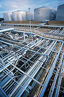 Petrochemical oil refinery storage tanks and pipes