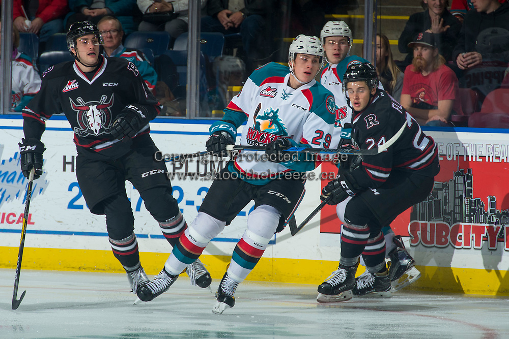 KELOWNA, CANADA - NOVEMBER 11: Nolan Foote #29 of the Kelowna Rockets skates against the Red Deer Rebels on November 11, 2017 at Prospera Place in Kelowna, British Columbia, Canada.  (Photo by Marissa Baecker/Shoot the Breeze)  *** Local Caption ***