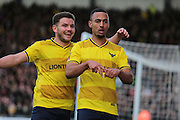 Oxford United midfielder Kemar Roofe celebrates his second goal during the The FA Cup third round match between Oxford United and Swansea City at the Kassam Stadium, Oxford, England on 10 January 2016. Photo by Jemma Phillips.
