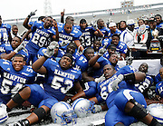 The Hampton Pirates celebrate beating Grambling 27-26 in OT in the 2006 MEAC-SWAC Football Challenge at Legion Field in Birmingham, Alabama.  September 02, 2006  (Photo by Mark W. Sutton)