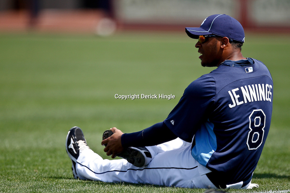 March 8, 2011; Port Charlotte, FL, USA; Tampa Bay Rays center fielder Desmond Jennings (8) before a spring training exhibition game against the Toronto Blue Jays at Charlotte Sports Park.   Mandatory Credit: Derick E. Hingle