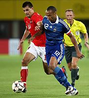 Fotball, 6. september 2008 , VM-kvalifisering , Weltmeisterschaft 2010, Qualifikation,Østerrike - Frankrike , Oesterreich vs Frankreich, AUT vs FRA. Bild zeigt Paul Scharner (AUT) und Thierry Henry (FRA). <br /> Norway only