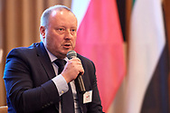 Warsaw, Poland - 2018 November 08: Marek Sutkowski Advanced Technology Application Manager Horus Eneria attends panel session sustainable development while Polish - Emirati Business Forum on Raffles Europejski Hotel on November 08, 2018 in Warsaw, Poland.<br /> <br /> Adam Nurkiewicz declares that he has no rights to the image of people at the photographs of his authorship.<br /> <br /> Picture also available in RAW (NEF) or TIFF format on special request.<br /> <br /> Any editorial, commercial or promotional use requires written permission from the author of image.<br /> <br /> Image can be used in the press when the method of use and the signature does not hurt people on the picture.<br /> <br /> Mandatory credit:<br /> Photo by © Adam Nurkiewicz