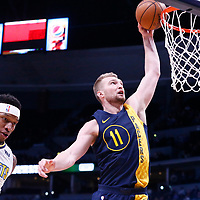 03 April 2018: Indiana Pacers center Domantas Sabonis (11) goes for the dunk during the Denver Nuggets 107-104 victory over the Indiana Pacers, at the Pepsi Center, Denver, Colorado, USA.