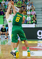 Goran Dragic of Slovenia vs Alex Garcia of Brasil during friendly basketball match between National Teams of Slovenia and Brasil at Day 2 of Telemach Tournament on August 22, 2014 in Arena Stozice, Ljubljana, Slovenia. Photo by Vid Ponikvar / Sportida