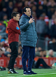 LIVERPOOL, ENGLAND - Saturday, December 29, 2018: Arsenal's manager Unai Emery during the FA Premier League match between Liverpool FC and Arsenal FC at Anfield. (Pic by David Rawcliffe/Propaganda)