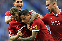 Philippe Coutinho of Liverpool celebrates with Alberto Moreno of Liverpool after scoring from a free kick (0-2) - Mandatory by-line: Paul Roberts/JMP - 23/09/2017 - FOOTBALL - King Power Stadium - Leicester, England - Leicester City v Liverpool - Premier League