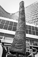 This 7 meters high replica of the Ishango bone on the Munt Square in Brussels.The original carved bone, found by explorer Jean de Heinzelin de Braucourt in 1960 in the Belgian Congo, dates back 22.000 years, and is the first proof of mathematical knowledge of humans.