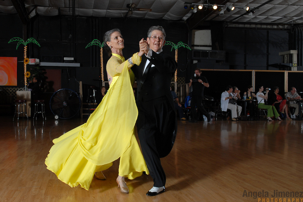 Same-sex ballroom dancers Barbara Zoloth, right, of Berkeley, California, and Winter Held, of Oakland, California, compete in the women's standard event at the USADSF (United States Alternative Dancesport Federation) Same-Sex Ballroom Championships at Dance Orlando in Orlando, Florida on June 2, 2007...The women finished second out of four couples. ..Nine male and female couples from around the country competed in the event, which was the 3rd annual United States championship contested in this sport: the first two championships were held in Sacramento, California in 2005 and 2006. This was the first same-sex ballroom competition ever held in Florida. ..Same-sex ballroom dancing is a new sport which is growing and developing in the United States, but it has a longer history in Europe, where events have been held for over two decades.  ..