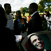 (10/12/2008 Tampa)  CSI NY actor Hill Harper talks with voters at the Campaign for Change Voter Education barbecue for Senator Barack Obama at Ragan Park in Tampa. Harper a graduate of Brown University and Harvard Law School received his MBA from Kennedy School of Government at Harvard University. Harper is a long time friend of Senator Obama from their days at Harvard Law school where they also played basketball together in the 1980's. (Willie J. Allen Jr.)