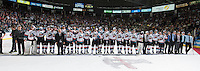 KELOWNA, CANADA - MAY 13: The Kelowna Rockets stand on the blue line during trophy presentation of the WHL championship on May 13, 2015 during game 4 of the WHL final series at Prospera Place in Kelowna, British Columbia, Canada.  (Photo by Marissa Baecker/Shoot the Breeze)  *** Local Caption ***