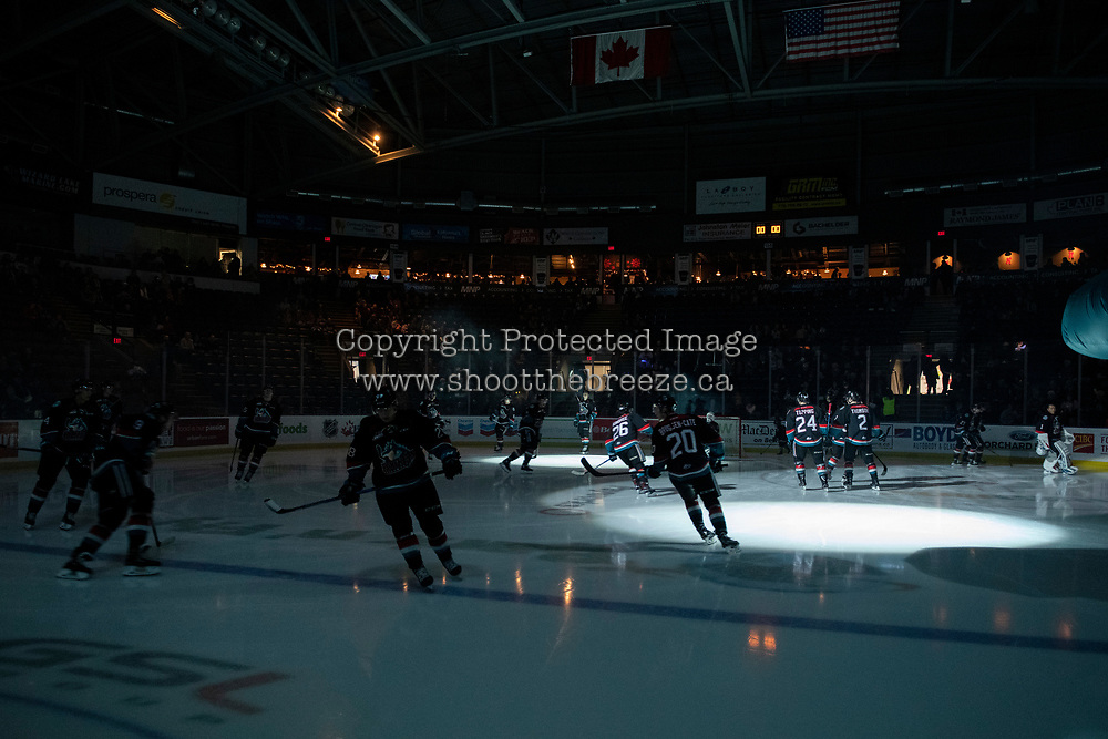 KELOWNA, CANADA - NOVEMBER 23: the Kelowna Rockets enter the ice against the Victoria Royals  on November 23, 2018 at Prospera Place in Kelowna, British Columbia, Canada.  (Photo by Marissa Baecker/Shoot the Breeze)