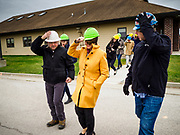 12 APRIL 2019 - NEVADA, IOWA: MIKE HOLLENBERG, CEO of Lincolnway Energy, (left), US Senator AMY KLOBUCHAR, (D-MN) and CHRIS CLEVELAND, Production Manager of Lincolnway Energy, (right) tour the Lincolnway Energy ethanol plant in Nevada, IA. Sen. Klobuchar is touring Iowa this weekend to support her bid for the Democratic nomination of for the US Presidency. Iowa traditionally hosts the the first election event of the presidential election cycle. The Iowa Caucuses will be on Feb. 3, 2020.          PHOTO BY JACK KURTZ