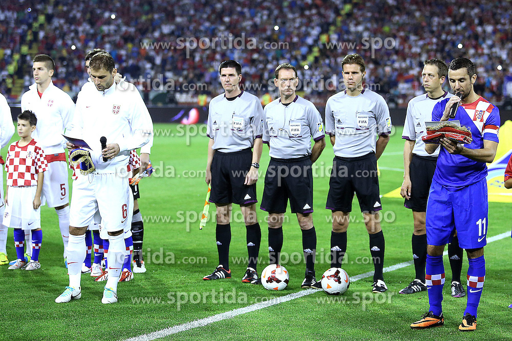06.09.2013, Stadion Crvena Zvezda, Belgrad, SRB, FIFA WM Qualifikation, Serbien vs Kroatien, Rueckspiel, im Bild Darijo Srna, Branislav Ivanovic // during the FIFA World Cup Qualifier second leg Match between Serbia and Croatia at the Stadion Crvena Zvezda in Beograd, Serbia on 2013/09/06. EXPA Pictures &copy; 2013, PhotoCredit: EXPA/ Pixsell/ Goran Stanzl<br /> <br /> ***** ATTENTION - for AUT, SLO, SUI, ITA, FRA only *****