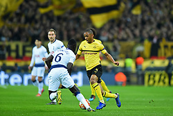 February 13, 2019 - London, England, United Kingdom - Borussia Dortmund defender Abdou Diallo looks to pass Tottenham defender Davinson Sanchez during the UEFA Champions League match between Tottenham Hotspur and Ballspielverein Borussia 09 e.V. Dortmund at Wembley Stadium, London on Wednesday 13th February 2019. (Credit: Jon Bromley | MI News & Sport Ltd) (Credit Image: © Mi News/NurPhoto via ZUMA Press)