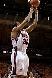 Virginia Cavaliers forward Adrian Joseph (30) shoots against FSU.  The Virginia Cavaliers Men's Basketball Team defeated the Florida State Seminoles 73-70 at the John Paul Jones Arena in Charlottesville, VA on February 17, 2007.