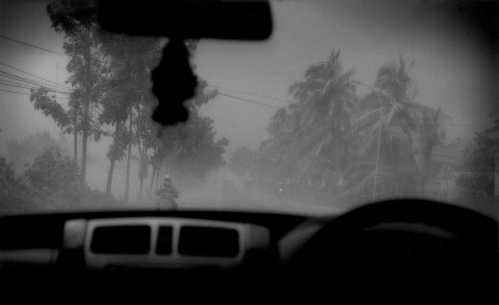 Ash from a new eruption on Mt. Merapi accumulates like snow on coconut trees lining the highway from Yogyakarta to Magalang, Java, Indonesia.