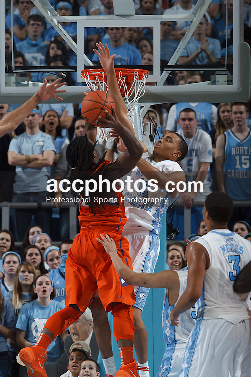 CHAPEL HILL, NC - JANUARY 26: Brice Johnson #11 of the North Carolina Tar Heels blocks the Clemson Tigers on January 26, 2014 at the Dean E. Smith Center in Chapel Hill, North Carolina. North Carolina won 61-80. (Photo by Peyton Williams/UNC/Getty Images) *** Local Caption *** Brice Johnson