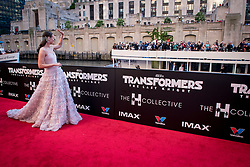 Laura Haddock waves to a passing ferry at the US Premier of 'Transformers: The Last Knight' on the Chicago River in front of the Civic Opera House on Tuesday June 20, 2017 in Chicago, IL. Photo: Christopher Dilts / Sipa USA *** Please Use Credit from Credit Field ***