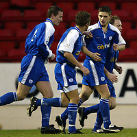St Johnstone v Ross County..  11.01.03<br />Ross Forsyth celebrates his goal<br /><br />Pic by Graeme Hart<br />Copyright Perthshire Picture Agency<br />Tel: 01738 623350 / 07990 594431