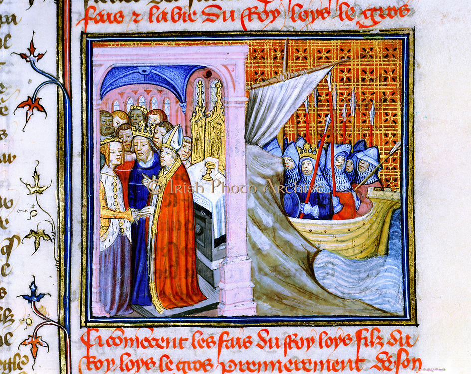 Marriage of Eleanor of Aquitaine (c1122-1204) and Louis VII of France (1137) left, and embarkation for Second Crusade 1147-1149. From 'Chronique de St Denis', Musee Conde, Chantilly. Eleanor's second marriage was to Henry Plantagenet, Henry II of England.