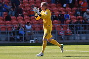 Blackpool Goalkeeper, Ryan Allsop (26) applauds the fans during the EFL Sky Bet League 1 match between Blackpool and Oldham Athletic at Bloomfield Road, Blackpool, England on 26 August 2017. Photo by Mark Pollitt.