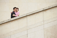 Affectionate Couple Sightseeing on Steps