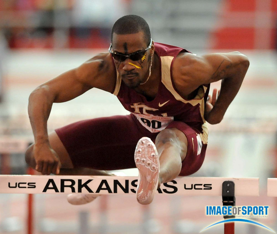Mar 14, 2008; Fayetteville, AR, USA; Drew Brunson of Florida State won the 60m hurdles in 7.53 in the NCAA Indoor track and field championships at the Randal Tyson Center. Mandatory Credit: Kirby Lee/Image of sport-US PRESSWIRE