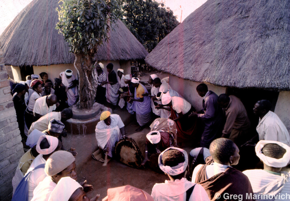 Modjadji IV beats a sacred drum at the family shrine in HaModjadji village as family and other tribal members dance around her during a ceremony to mourn the death of her daughter in a car accident. 1988. Greg Marinovich.