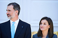 King Felipe VI of Spain, Queen Letizia of Spain attended an official lunch at Palacio de la Zarzuela on April 16, 2018 in Madrid, Spain