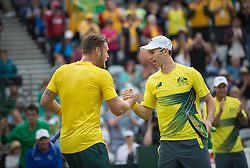 SYDNEY, Sept. 17, 2016  Australia's Sam Groth (L) and John Peers celebrate after defeating Slovakia's Igor Zelenay and Andrej Martin during their Davis Cup World Group playoff doubles in Sydney, Australia, Sept. 17, 2016. (Credit Image: © Zhu Hongye/Xinhua via ZUMA Wire)