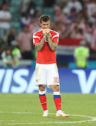 SOCHI, July 7, 2018  Fedor Smolov of Russia is seen after the 2018 FIFA World Cup quarter-final match between Russia and Croatia in Sochi, Russia, July 7, 2018. Croatia won 6-5 (4-3 in penalty shootout) and advanced to the semi-finals. (Credit Image: © Cao Can/Xinhua via ZUMA Wire)