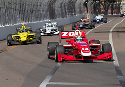 March 9, 2019 - St. Petersburg, FL, U.S. - ST. PETERSBURG, FL - MARCH 09: Zachary Claman (13) Wins race1 with  Toby Sowery (2) close behind in 2nd place during the start of the Indy Lights Race of St. Petersburg on March 9 in St. Petersburg, FL. (Photo by Andrew Bershaw/Icon Sportswire) (Credit Image: © Andrew Bershaw/Icon SMI via ZUMA Press)