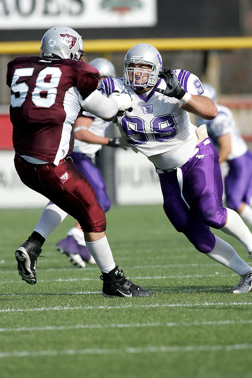 (3 November 2007 -- Ottawa) The University of Western Ontario Mustangs defeating the University of Ottawa Gee Gees lost to 16-23 in OUA football semi-final action in Ottawa. The University of Western Ontario Mustangs player pictured in action is Tomas Dolezel