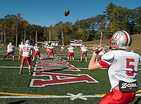Laconia Sachems football team during Thursday afternoon's practice prior to their Friday night Homecoming game.  (Karen Bobotas/for the Laconia Daily Sun)