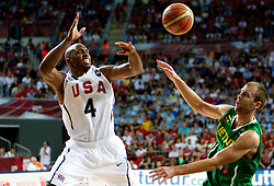 Chauncey Billups of USA vs Tomas Delininkaitis of Lithuania during the first semifinal basketball match between National teams of USA and Lithuania at 2010 FIBA World Championships on September 11, 2010 at the Sinan Erdem Dome in Istanbul, Turkey.   (Photo By Vid Ponikvar / Sportida.com)